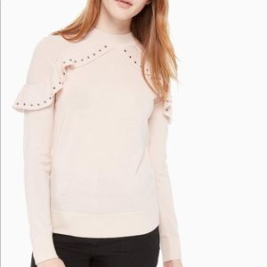 Kate Spade M Sweater Light Pink Ruffle Studded